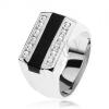 Gyűrű 925 ezüstből, fekete fénymázas sáv, átlátszó cirkóniás vonalak