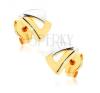Beszúrós fülbevaló 9K aranyból - két háromszög kétszínű kivitelben fülbevaló