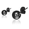 Beszúrós fülbevaló acélból, fényes golyók fekete színben