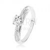 Csillogó 925 ezüst gyűrű, átlátszó kő, díszített oldalak