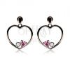 Fülbevaló 925 ezüstből, acélszürke szív körvonal, rózsaszín szív, átlátszó cirkónia