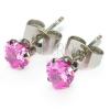 Beszúrós fülbevaló - rózsaszín cirkónia szívecske