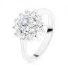 Fényes gyűrű ezüst árnyalatban, világoslila közép, cirkóniás kör