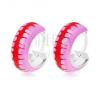 Karika fülbevaló, 925 ezüst, lila fénymáz piros sávval, 10 mm fülbevaló