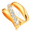 Medál 14K sárga aranyból - három egymást keresztező, vékony csík, apró és átlátszó cirkóniák