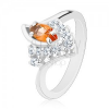 Ezüst színű gyűrű, hajlított szárvégek, búzaszem alakú narancssárga és átlátszó cirkóniák