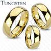 Arany színű wolfrám gyűrű, lekerekített és sima felszín, tükörfényű, 8 mm