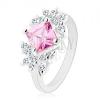 Ezüst színű gyűrű, csiszolt rózsaszín cirkóniás négyzet, átlátszó pillangó
