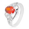 Ezüst színű gyűrű, narancssárga ovális cirkónia, hullámos vonalak