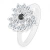Ezüst színű gyűrű, csillogó átlátszó cirkóniás szív, fekete közép