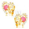 Fülbevaló 14K sárga aranyból, szívkörvonal átlátszó cirkóniás rubinnal