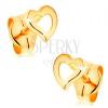 585 arany fülbevaló - aszimmetrikus szívkörvonal, fényes és sima felszín