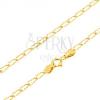 Arany nyaklánc - csillogó hosszúkás szemek vésetekkel, 500 mm