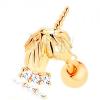 14K sárga arany fül piercing - egyszarvú, cirkóniás sáv