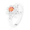Csillogó gyűrű virággal és levélkékkel, narancssárga és átlátszó cirkóniák