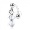 Acél szemöldök piercing, két átlátszó gyöngy csiszolt felülettel