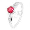 925 ezüst gyűrű, kerek rózsaszín cirkónia, csillogó levelek az oldalain
