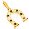 14K sárga arany medál, szerencse szimbólum - patkó fekete pöttyökkel