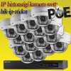 Hikvision 16 dome kamerás 1.3MP PoE IP szett (hik-ip-16d01