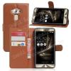WALLET notesz tok / flip tok - BARNA - asztali tartó funkciós, oldalra nyíló, rejtett mágneses záródás, bankkártyatartó zseb, szilikon belsõ - ASUS Zenfone 3 Deluxe (ZS570KL)