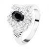 Gyűrű ezüst színben, bemetszett szárak, fekete ovális, átlátszó cirkóniák