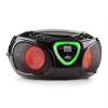 Auna auna Roadie, boombox, fekete, CD, USB, MP3, FM/AM rádió, bluetooth 2.1, színes led hatások