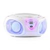 Auna auna Roadie, boombox, fehér, CD, USB, MP3, FM/AM rádió, bluetooth 2.1, színes LED hatások