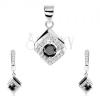Szett 925 ezüstből, medál és fülbevaló, fekete cirkónia, rombusz - keret