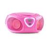 Auna auna Roadie, boombox, rózsaszín, CD, USB, MP3, FM/AM rádió, bluetooth 2.1, színes LED hatások hordozható rádió