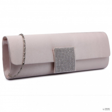 Miss Lulu London LY6681-női Satin Envelope Táska Clutch táska for estélyi Party Bridal Wedding val Detachable Lánc szíj Nude