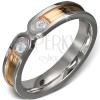Acélgyűrű - arany szalag ezüst szegéllyel, két tiszta kő