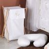 Prémium hímzett szennyes tároló - Alvó maci fehér