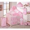 Babaágynemű garnitúra 4 részes hímzett huzat - Szíves maci rózsaszín