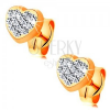 Bedugós fülbevaló 585 sárga aranyból - szív átlátszó Swarovski kristályokkal
