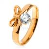 Gyűrű sebészeti acélból arany színben, fényes masni átlátszó cirkóniával