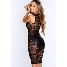 Fekete Sexy Csipke Club Ruha Bőr betéttel