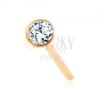 Orr piercing sárga 14K aranyból - csillogó átlátszó cirkónia fényes foglalatban, 1,5 mm