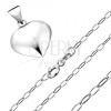 Nyakék 925 ezüstből - medál háromdimenziós szívből, csillogó lánc