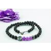 Hematit gyűrűs lávakő nyaklánc lila jádéval