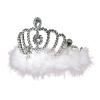 Ezüst tiara fehér pihével