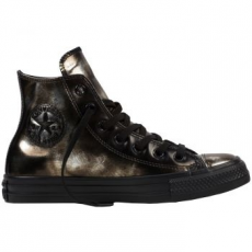 Converse Chuck Taylor All Star Hi Leather női tornacipő, Black/Metallic Gunmetal, 36 (553301C-001-5.5)