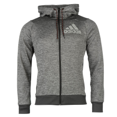 Adidas PrimePlus férfi kapucnis cipzáras pulóver szürke M