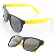 Matt műanyag napszemüveg. Fekete kerettel, citromsárga szárral