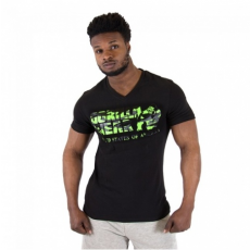 SACRAMENTO V-NECK T-SHIRT (BLACK/NEON LIME) [L]