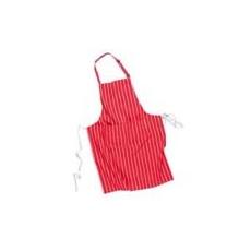 (S855) Csíkos szakácskötény zsebbel piros/fehér csíkos