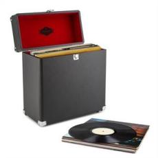 Auna auna TTS6 lemez tartó bőrönd, műbőr, nosztalgikus, 30 LP lemez, fekete
