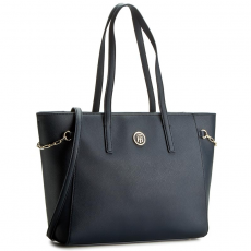 Tommy Hilfiger Táska TOMMY HILFIGER - Th Chain Medium Tote AW0AW03708 001