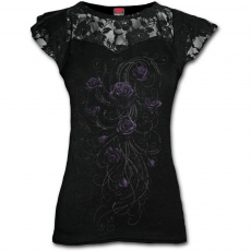 Spiral Direct, Anglia Entwined skull - Lace Layered Cap Sleeve Top Black, női rövid ujjú