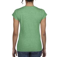 GILDAN női v-nyaku Softstyle póló, heather irish green