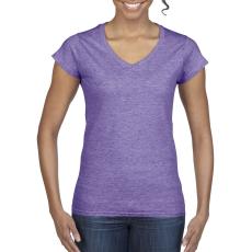 GILDAN női v-nyaku Softstyle póló, heather purple